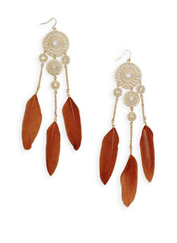 Dream Catcher Feather Drop Earrings - 1135072696460