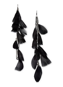 Feather Chandelier Earrings with Chain Fringe - 1135072696461