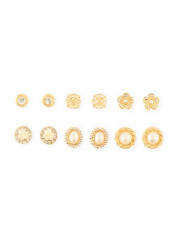 Set of 6 Assorted Rhinestone and Rose Stud Earrings - 1135072696625