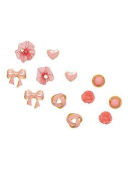 Set of 6 Bow Tie Flower Heart Stud Earrings - 1135072696626