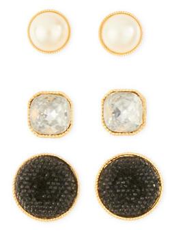 Set of 3 Pearl and Rhinestone Stud Earrings - 1135072696628
