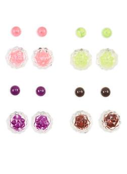 Set of 4 Faceted Reversible Stud Earrings - 1135072698002