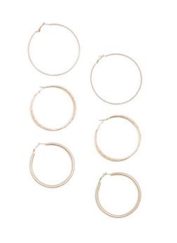Set of 3 Large Hoop Earrings - 1135072699174