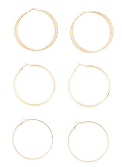 Textured Hoop Earrings Trio - 1135073848347