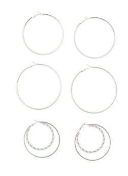 Large Metallic Hoop Earring Trio - 1135073848377