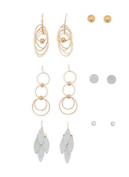 Set of 6 Assorted Stud and Drop Earrings - 1135073848455