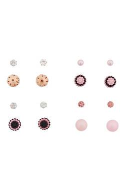 Set of 4 Rhinestone and Faux Pearl Reversible Stud Earrings - 1135073848544