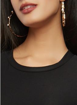 Set of Metallic Rhinestone Stud and Hoop Earrings - 1135073848570
