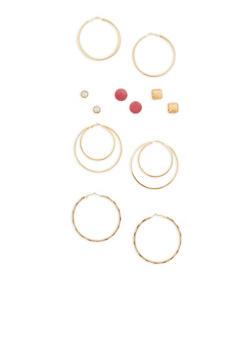 Set of 6 Stud and Large Hoop Earrings - 1135073848577
