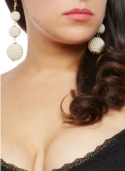 Faux Pearl Drop Earrings - 1135074141030