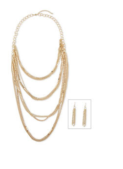 Multi Layered Rhinestone Necklace Set with Drop Earrings - 1138003200675