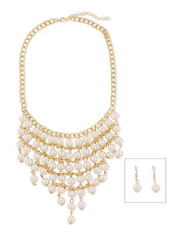 Faux Pearl Bib Necklace with Drop Earrings - 1138003201064