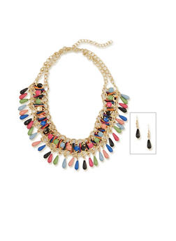 Woven Curb Chain Collar Necklace with Bead Fringe - 1138003201110