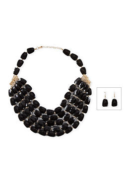 Tiered Flat Faceted Bead Necklace and Earring Set - 1138003201116