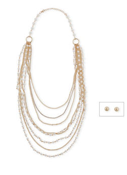 Long Multi Layered Faux Pearl and Chain Necklace - 1138003201165