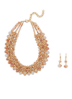 Layered Beaded Necklace and Drop Earrings - 1138003201181