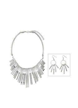 Curved Fringe Necklace with Earring Set - 1138003205022