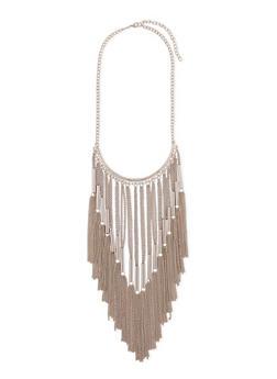 Long Metal Fringe Necklace - 1138003208051
