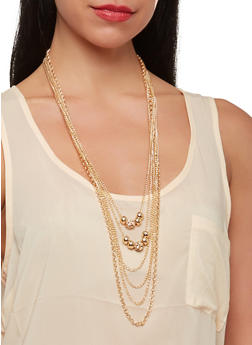 Layered Necklace and Chain Fringe Earrings - 1138003208338