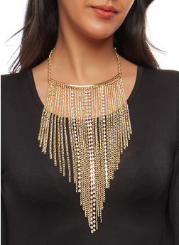 Long Chain and Rhinestone Fringe Necklace with Earrings - 1138003209051