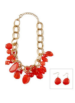 Chunky Double Linked Stone Fringed Necklace with Earrings - 1138018431044