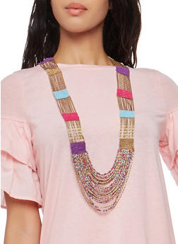 Long Multi Color Beaded Necklace - 1138018431105