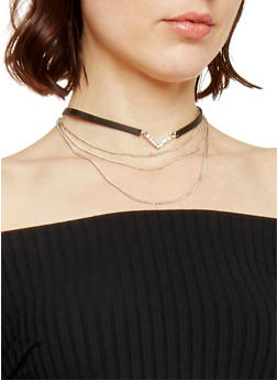 Layered Microbead and Faux Leather Choker - 1138018432024