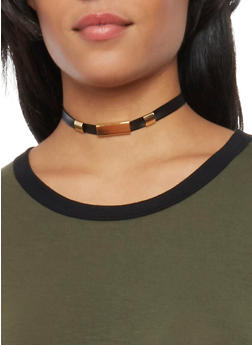 Trio of Faux Leather and Drop Charm Choker Necklaces - 1138018432104
