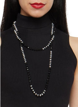 Two Tone Long Beaded Necklace - 1138018433164