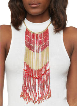 Chain Beaded Fringe Necklace - 1138018434130