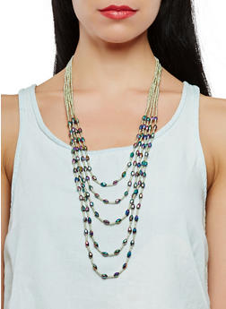 Beaded Layered Necklace - 1138018434294