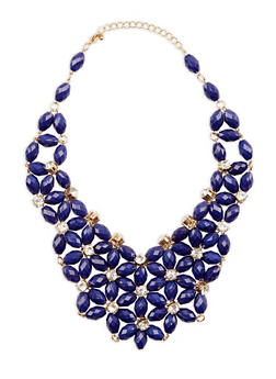 Beaded Bib Necklace with Rhinestone Detail - 1138018434726
