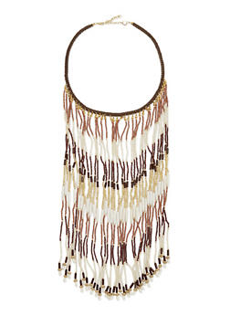 Braided Necklace with Beaded Fringe - 1138018436110