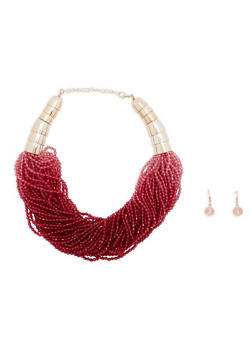 Multi Layer Beaded Necklace and Earring Set - 1138018436482