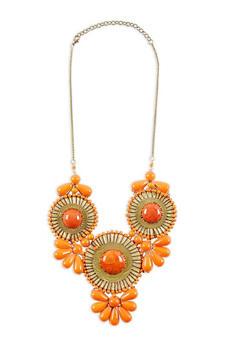 Orange Large Beaded Bib Necklace - 1138018437530