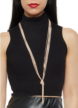 Knotted Rhinestone Chain Fringe Necklace - 1138018438622