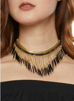 Beaded Chain Link Fringe Choker - 1138018439980