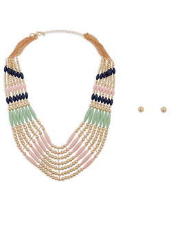 Layered Beaded Collar Necklace with Stud Earrings - 1138035150563