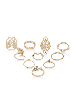 Set of 10 Assorted Rings - 1138035150592