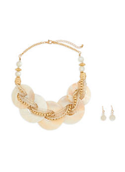Multi Beaded Shell Statement Necklace and Earrings - 1138035151161