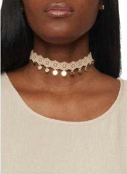 Trio of Laser Cut and Beaded Choker Necklace Set - 1138035151227