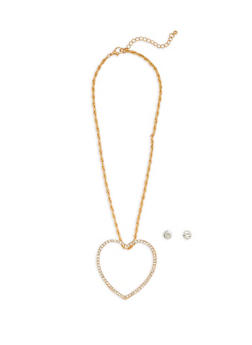 Large Open Rhinestone Heart Necklace with Stud Earrings - 1138035151604