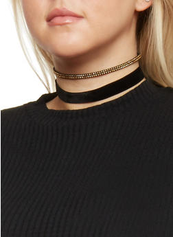 Set of Three Charm and Velvet Choker Necklaces - 1138035151863