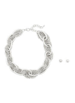 Braided Chain Necklace with Earrings - 1138035152067