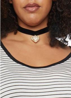 Velvet Rhinestone Heart Choker - 1138035152463