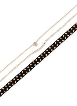 Trio of Faux Suede Studded and Chain Chokers - 1138035152532