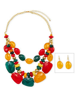 Three Row Multicolored Stone Collar Necklace and Earrings Set - 1138035152691