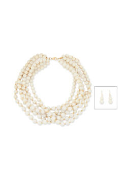 Multi Layered Beaded Necklace with Drop Earring Set - 1138035152716