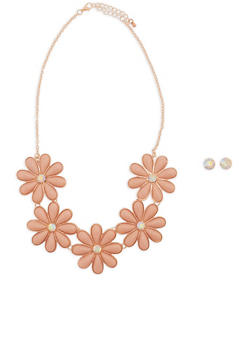 Jeweled Flower Statement Necklace with Earrings - 1138035152832