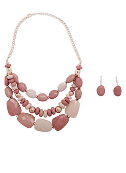 Layered Large Bead Necklace with Drop Earrings - 1138035153269